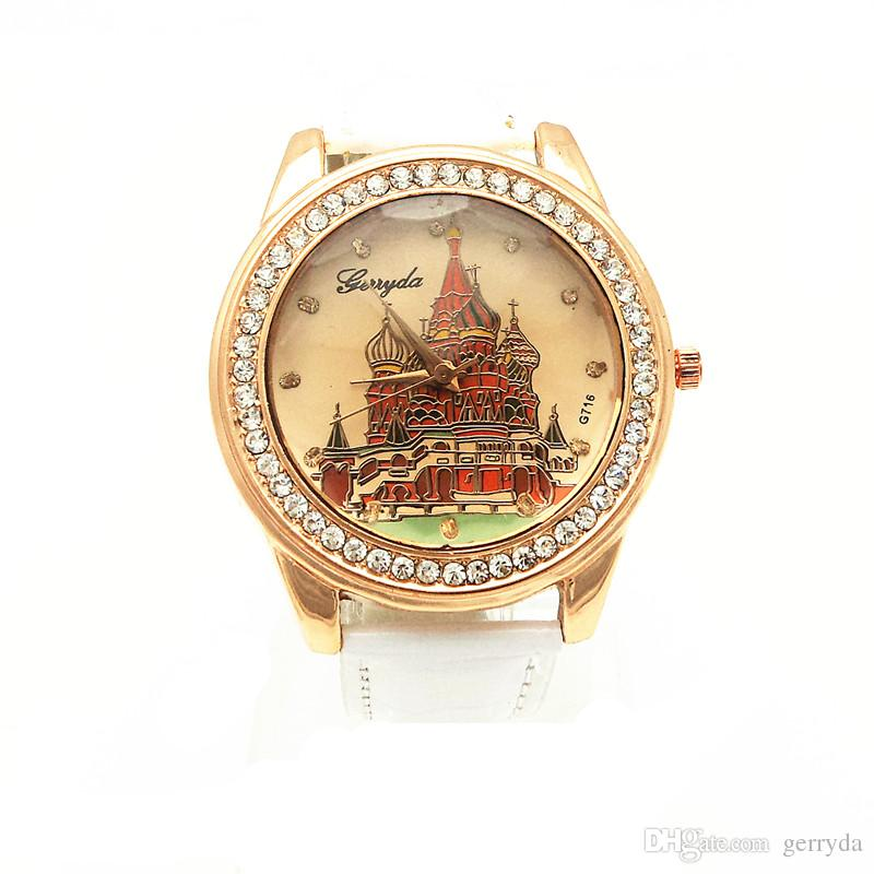 !Gold plating alloy round case,PVC leather band,Russian house imprint dial,quartz movement,Gerryda fashion woman lady watch,716