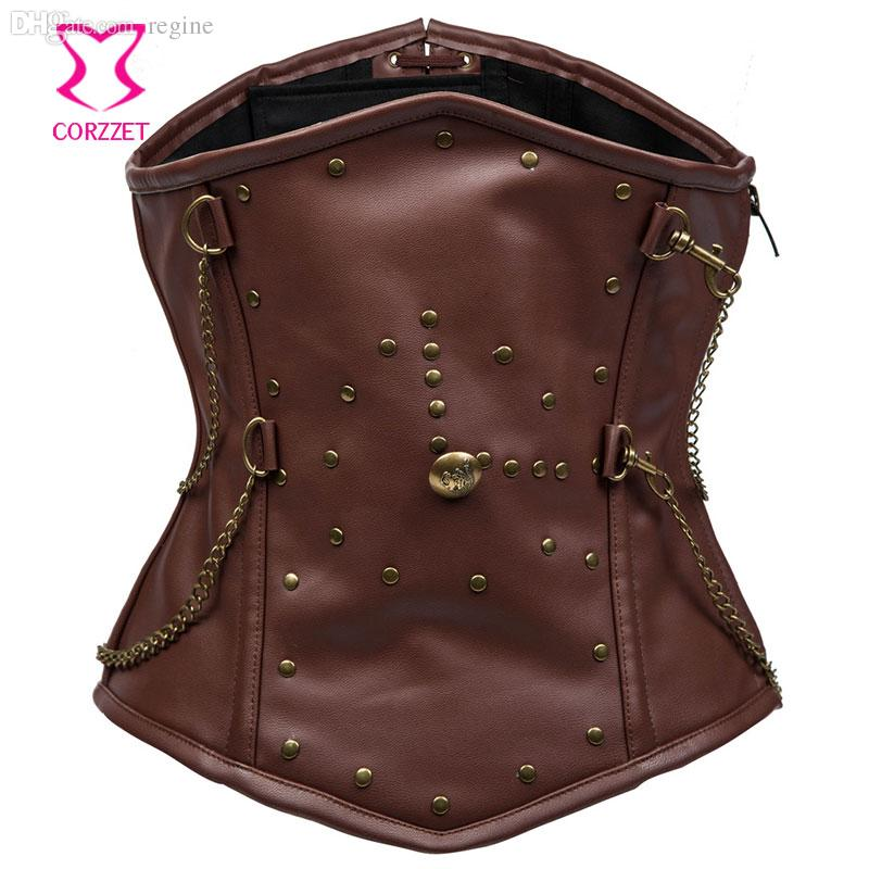 ca53ff4b60 2019 Wholesale Brown Leather Steel Boned Corset Waist Training Underbust  Corsets Steampunk Corset For Men Waist Trainer Bustier Gothic Clothes From  Regine