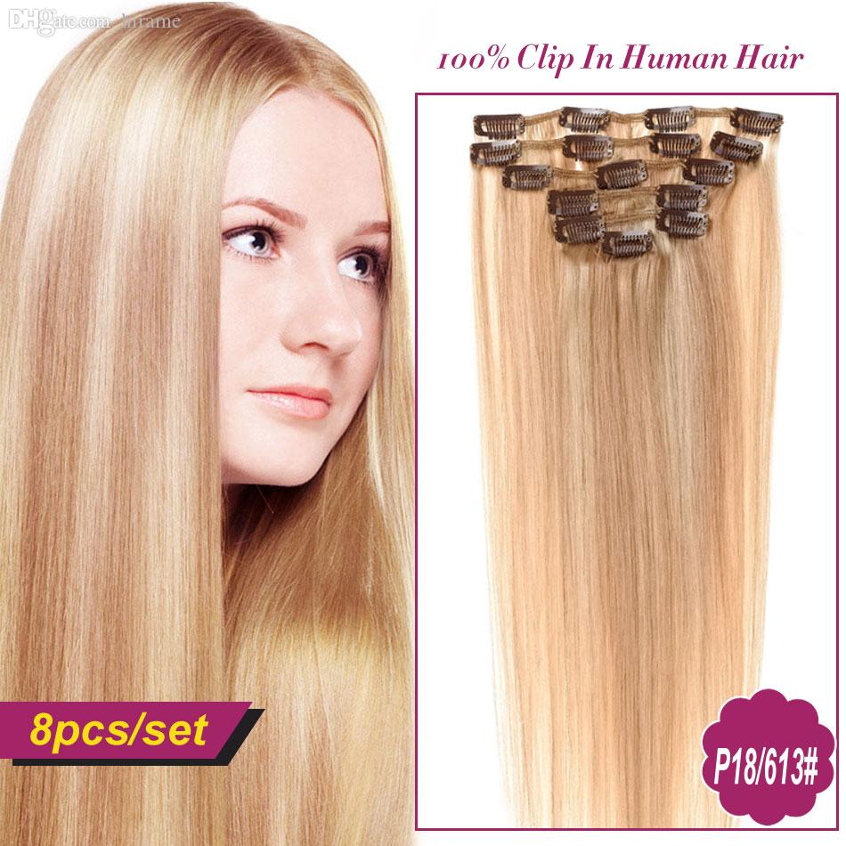 Wholesale Piano Color Clip In Hair Extensions Natural Human Clip