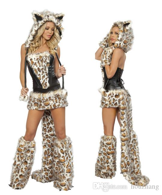 wholesale new sexy leopard cat suits adult wolf costumes with tail fancy cosplay costume for women halloween party fur animals cats clever group halloween - Womens Wolf Halloween Costume