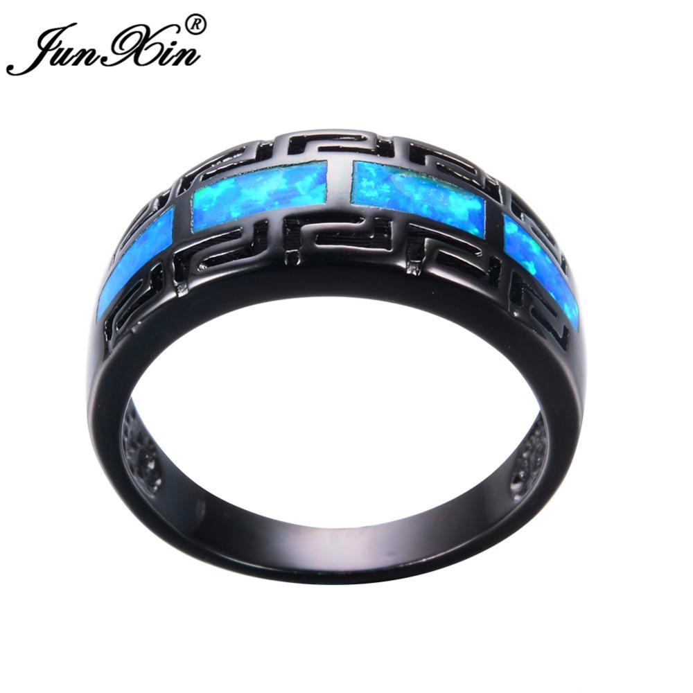 2018 Junxin Male Female Blue Fire Opal Ring Black Gold Filled