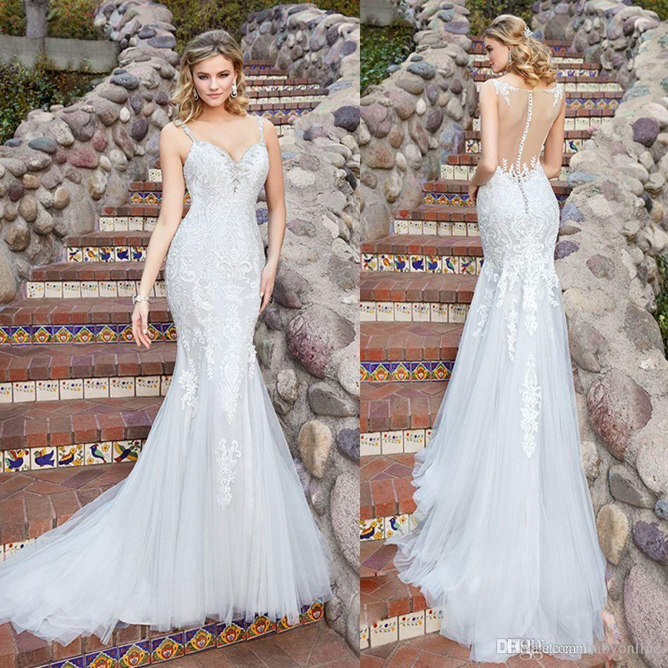 2017 New Kitty Chen Mermaid Wedding Dresses See Through Back Spaghetti Straps Lace Appliques Beaded Sweep Train Bridal Gowns Dress Sale