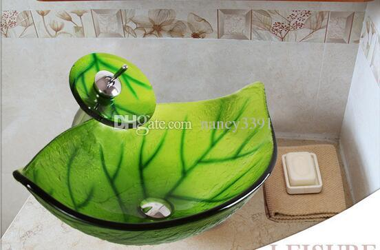Glass wash basin oval shape green leaf pattern applies to the