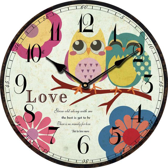 Wholesale- Kids Cute Owl Wall Clock Modern Design Large Decorative ...