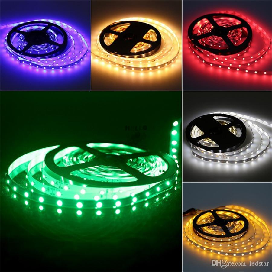 LED 스트립 라이트 3528 SMD 5M 300LEDS 12V 유연한 LED 리본 다이오드 테이프 RGB 단일 색상 LEDSTRIP 고품질 FITA LED