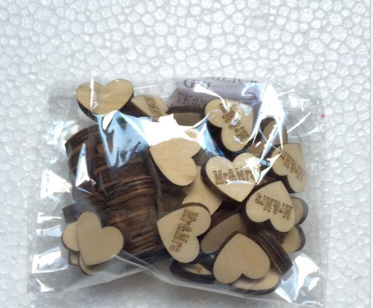 Bouton en bois avec lettre MRSMR pour les ornements de table Décoration de mariage Props