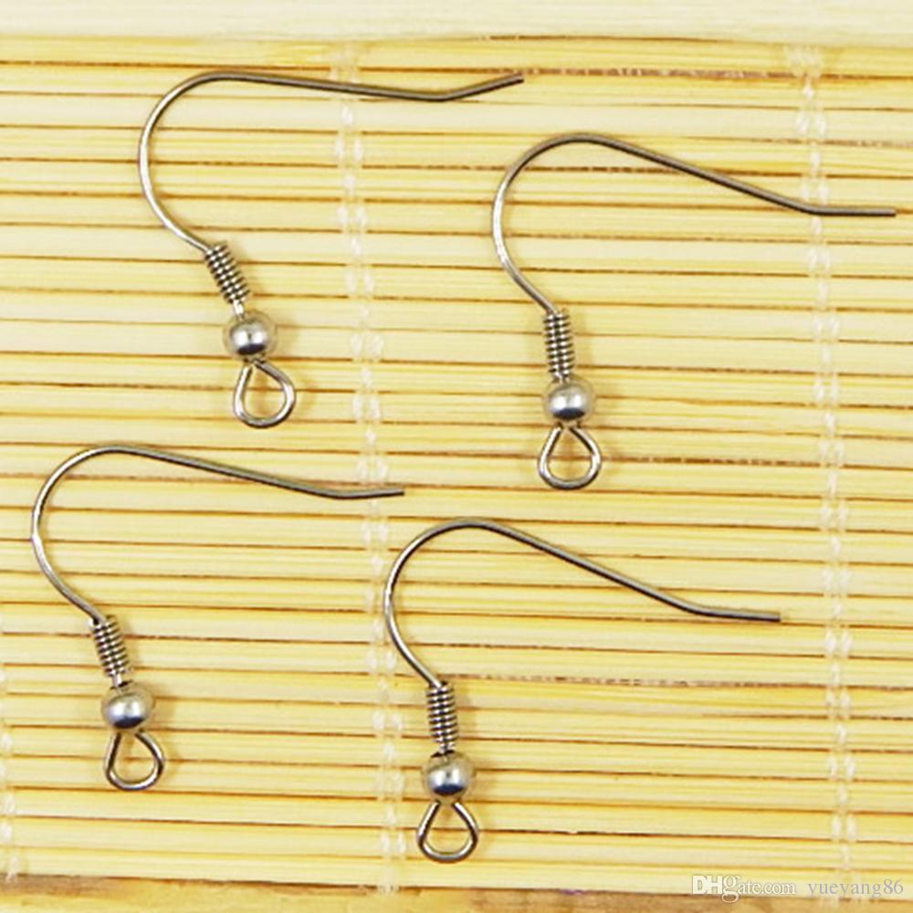 / en gros argent boucle d'oreille bijoux composants de recherche en acier inoxydable fils d'oreille crochet ~ avec 4 mm perle + bobine boucle d'oreille