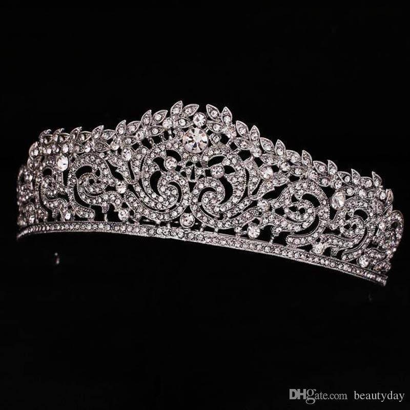 Chapado en oro Corona de novia nupcial Dama de honor Niñas de flor Tiara de cristal Rhinestone corona diadema Vestido de novia Estudio Tiara Moldura