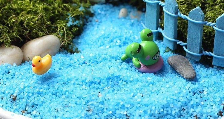 Blue stone sand to river sea fairy garden miniatures mini gnomes moss terrariums resin crafts figurines for garden decoration