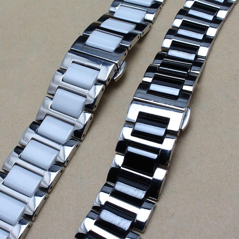 Nueva correa de reloj Fahion Envoltura metálica de acero inoxidable Cerámica Negro Blanco Fit Gear S2 Accesorios de reloj inteligente 16 18 20 22mm reemplazo de promoción
