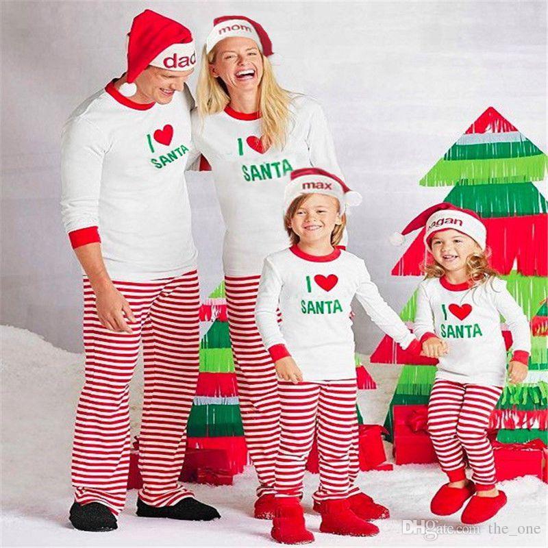 d29a06558090 2019 Christmas Family Matching Set I LOVE SANTA Pajamas Clothing ...
