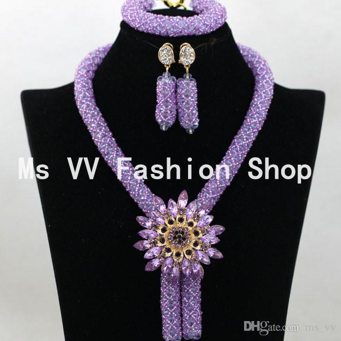 african beads jewelry handmade set blue silver negerian wedding dubai gold indian bridal fashion jodha akbar necklace set G01