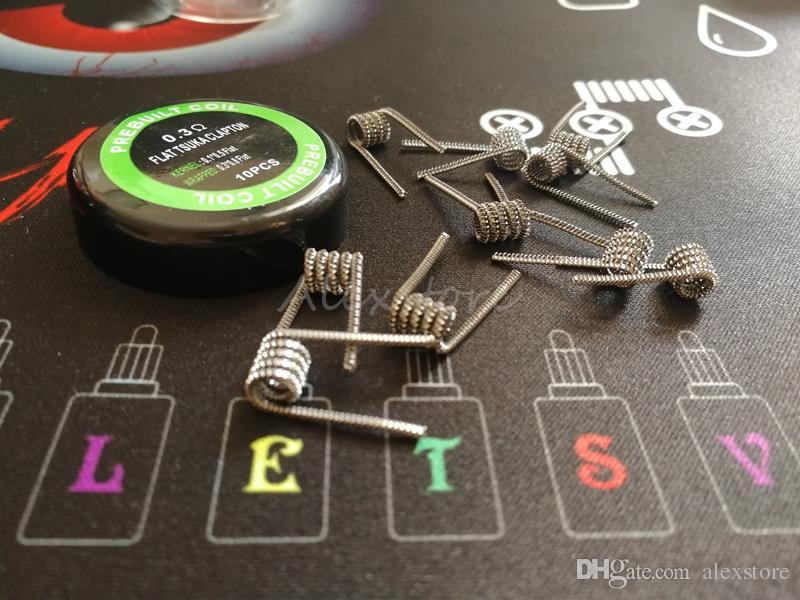 Las bobinas Tsuka Clapton planas prefabricadas 0.3 * 0.8 FLAT + 0.1 * 0.5 FLAT 0.3ohm prefabricadas enrollan los cables de calefacción precompilados para el tanque vape rda