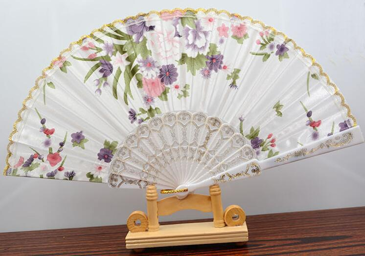 Brand new Wing Chun fan high quality color silk cloth 7 inch dance lace fan ZS019 as your needs