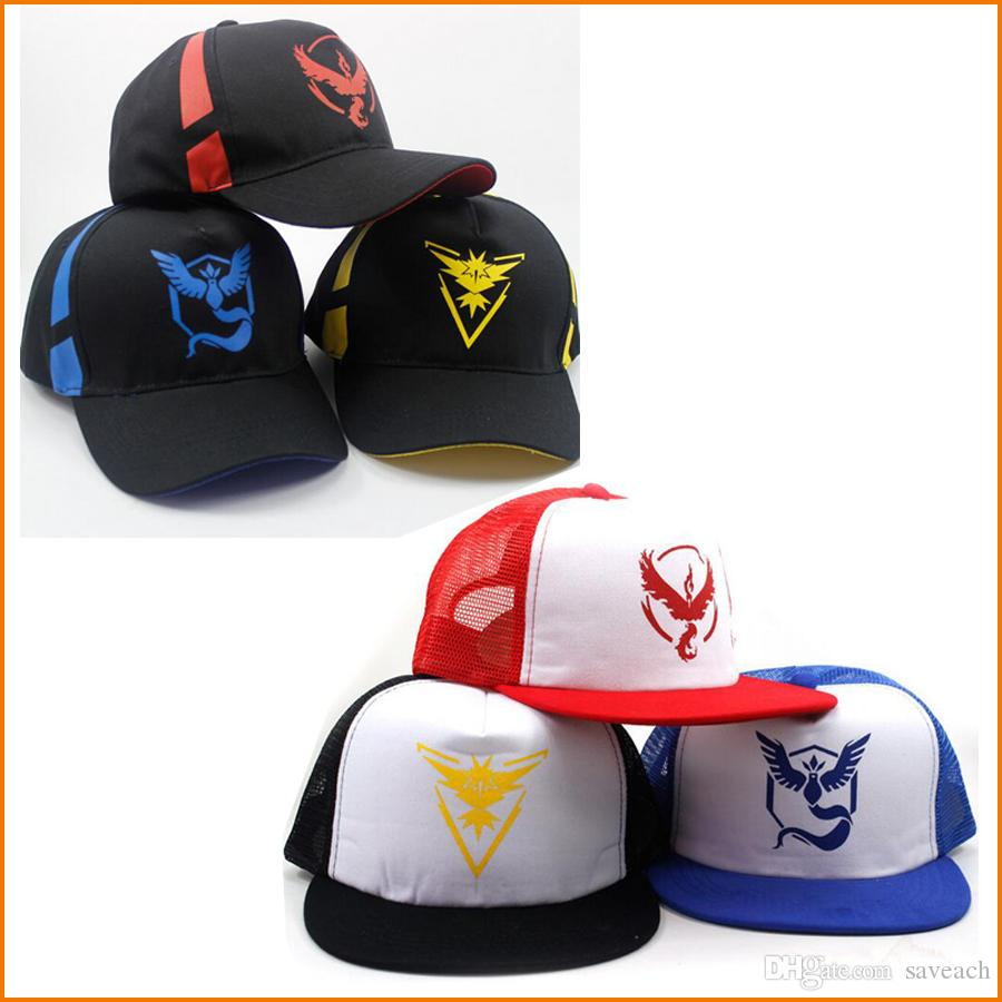 Pokémon Go Cap Hat Team Valor Team Mystic Team Instinct Pokémon Ball ... 889b0a626fa2