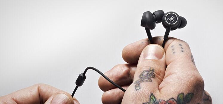 Auricolari Marshall MODE auricolari neri auricolari con microfono Cuffie auricolari HiFi universali telefoni cellulari