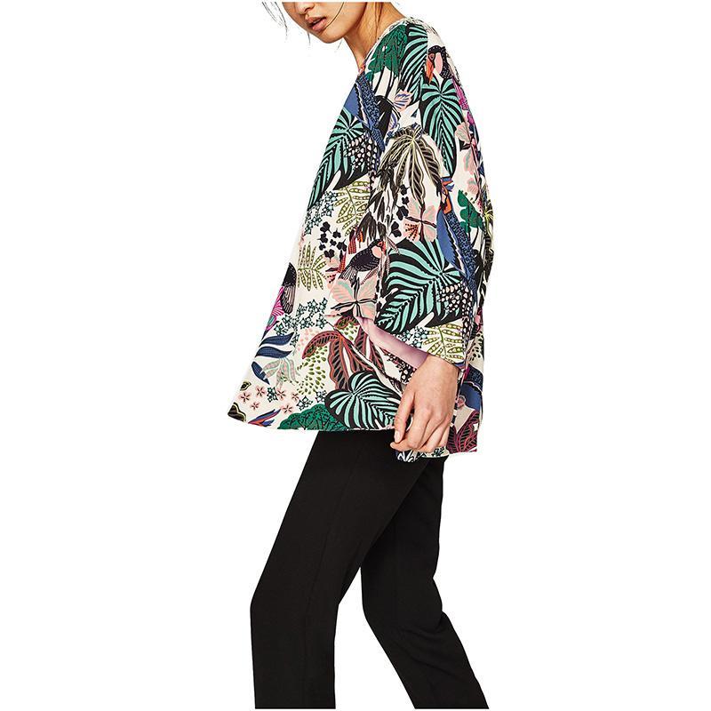 NYMPH 2017 NUEVA Moda Tropic Affair Chaqueta de Verano Nueva Estampado de flores Chaqueta de Kimono Abrigo de Manga Larga Batwing Casual Tops