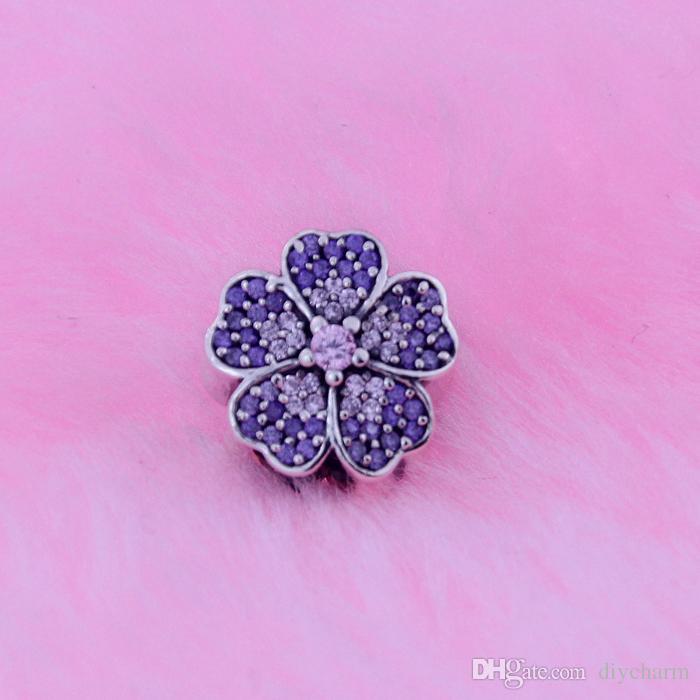 Свободные бусины подходит для Pandora браслеты оригинальный стерлингового серебра 925 пробы ювелирные изделия Первоцвет проложить Серебряный шарм с розовым и фиолетовым цирконием
