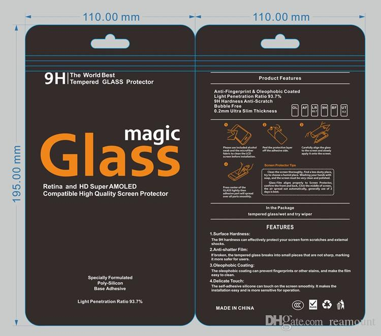 Hot plastic Cell phone for 9H Tempered Glass Screen protector Retail Package packaging boxes bags for iphone 7 Samsung