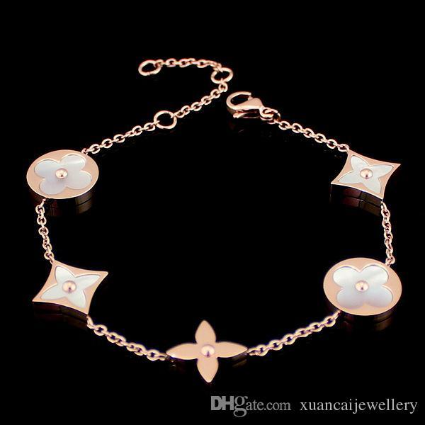 Cheap wholesale jewelry trade round square four White Shell Bracelet 18k gold pendant bracelet MS