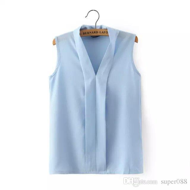 1b69fc1a718 2019 Women Plus Size V Neck Summer Blouses Low Cut Sleeveless Shirts Blusas  Femininas European Casual Tops Solid Tee From Super088