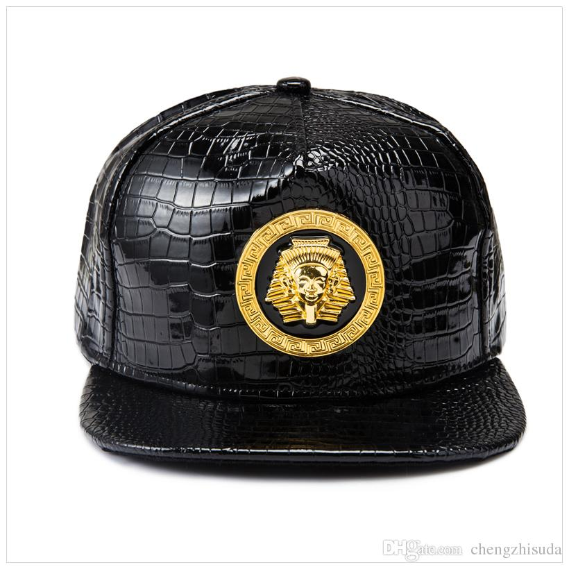 New Gold Egypt Pharaoh Baseball Cap PU Leather Hip Hop Punk Style Flat-Brimmed Snapback Hat Men Women Cool Boy Fashion Caps