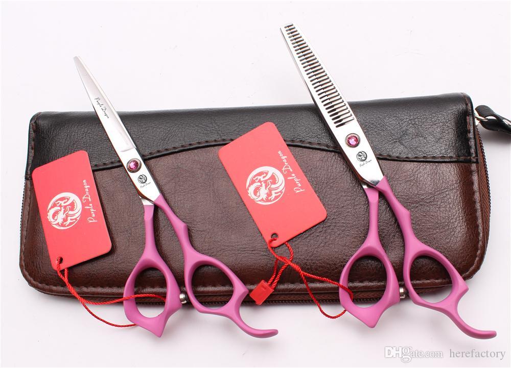 "6"" 17.5cm 440C Purple Dragon Elastic Handle Professional Human Hair Scissors Barbers' Scissors Cutting Thinning Shears Style Tool Z1024"