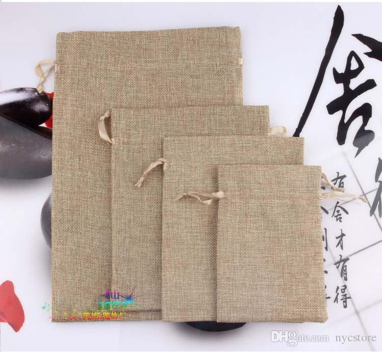 factory price Natural Burlap Linen Fabric Favor gifts jewelry Bags Drawstring Pouch Gift Wedding Jewelry Pouches 10.5cm*15.5cm