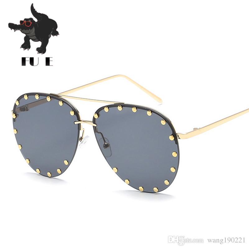 02f3a965f8 FU E High-quality New Fashion Women Sunglasses Half-frame Rivets ...