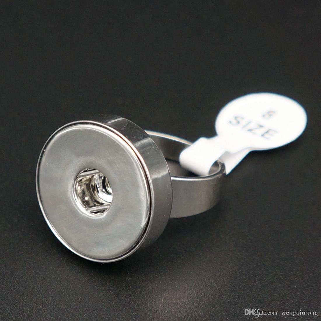 Vendita calda 10 pz JZ0017 Fascino DELL'ACCIAIO INOSSIDABILE 316L acciaio inox anello a pressione 3 dimensioni fit FAI DA TE 18mm bottoni a pressione zenzero bellezza fascino all'ingrosso