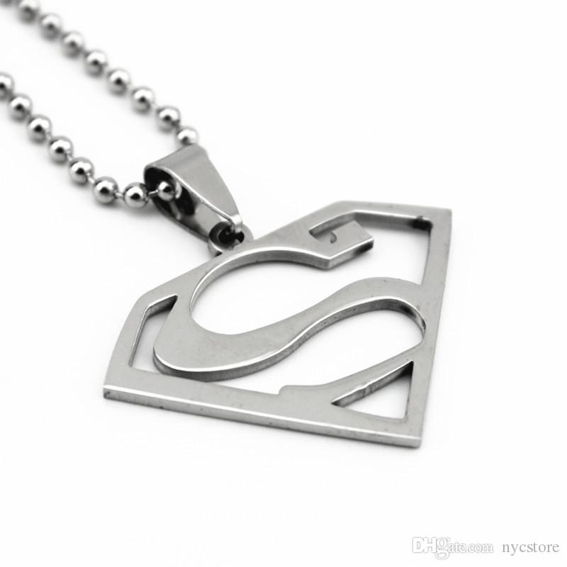 Stainless Steel Super Man Pendant Necklace High Quality Fashion Jewelry Statement Necklace Super Hero Pendant Necklaces
