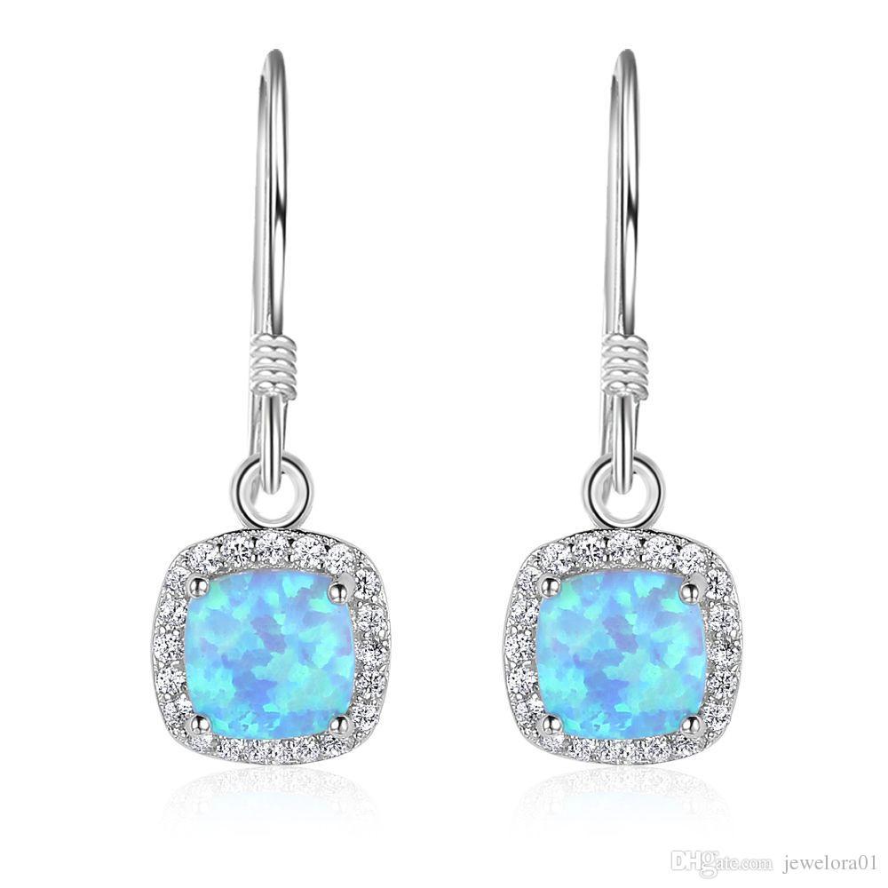 ced35ea3047fa 5pcs Fashion Sterling Silver Hoop Earrings Blue Opal Long Drop Clip On  Earrings Chandelier Earrings For Women
