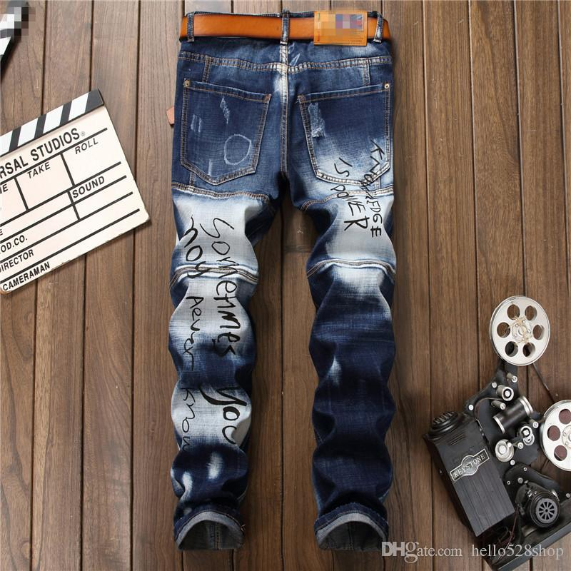 Yeni Delik Dikiş erkek Baskılı Kot Düz Dilenci Pantolon Eğilim Özel Mavi ve Beyaz Renk Tasarım Jean Rahat Pantolon