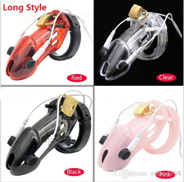 Male Long PC Electric Shock Pulse Stimulate Cock Cage With 5 Penis Ring Bondage Chastity Device Lock Adult Bdsm Sex Toy A191
