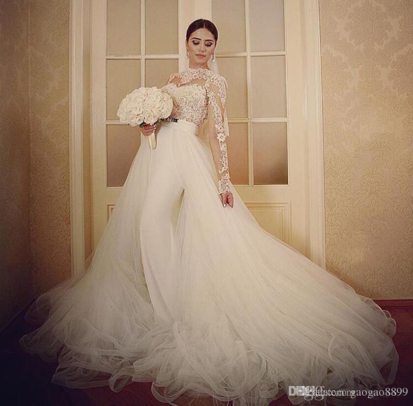 2019 Berta Bridal Vintage Country Wedding Dresses with Detachable over Skirt Lace Tulle Long Sleeve Mermaid Princess Garden Wedding Gowns
