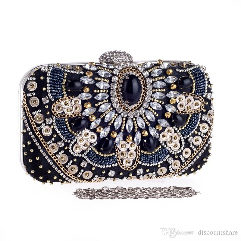 9e0785bfea9 Black Retro Evening Clutch Bags Rhinestones Beaded Clutch Bag Wedding Party  Clutches Purse Chain Handbag Canada 2019 From Discountshare, CAD $34.91 |  DHgate ...