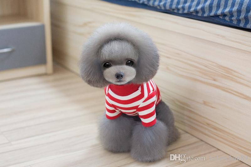 New Arrival Pet Dog Winter Warm Round Collar Stripe Coat Cotton Small Medium Dog T-Shirt Drop Shipping