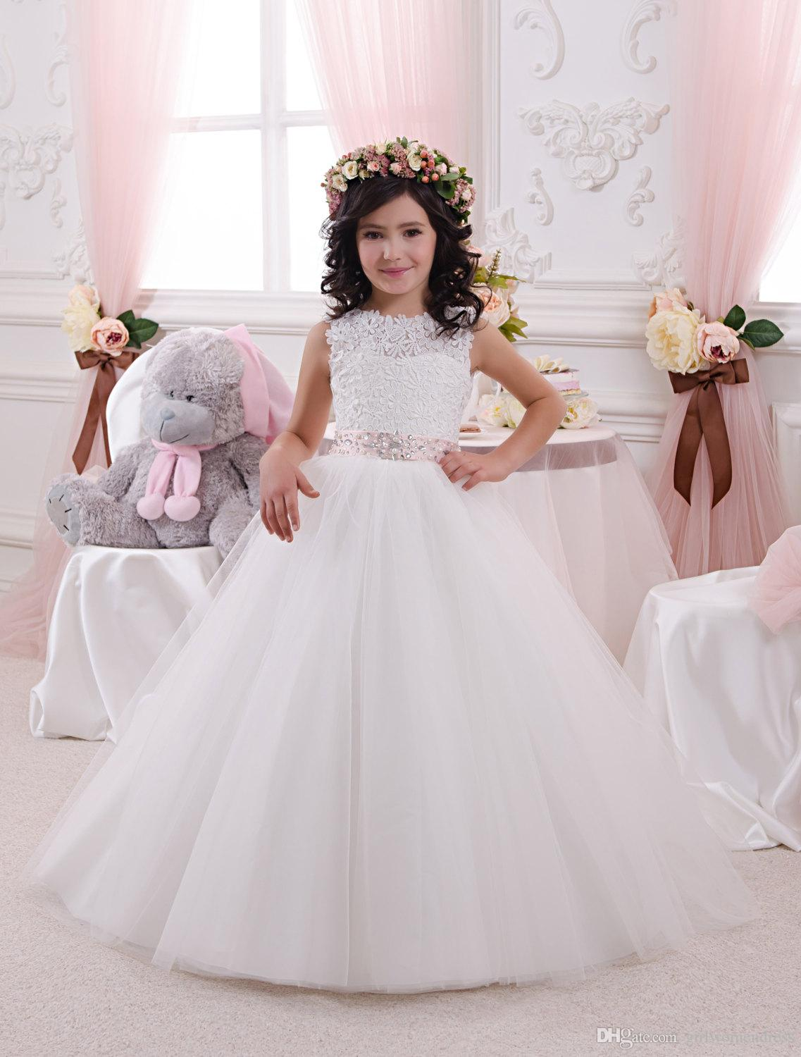 2017 2017 new hot design tulle lace flower girl dress wedding 2017 new hot design tulle lace flower girl dress wedding party dress prom clothes festival dress ivory sleeveless lace top beaded sashes ombrellifo Images
