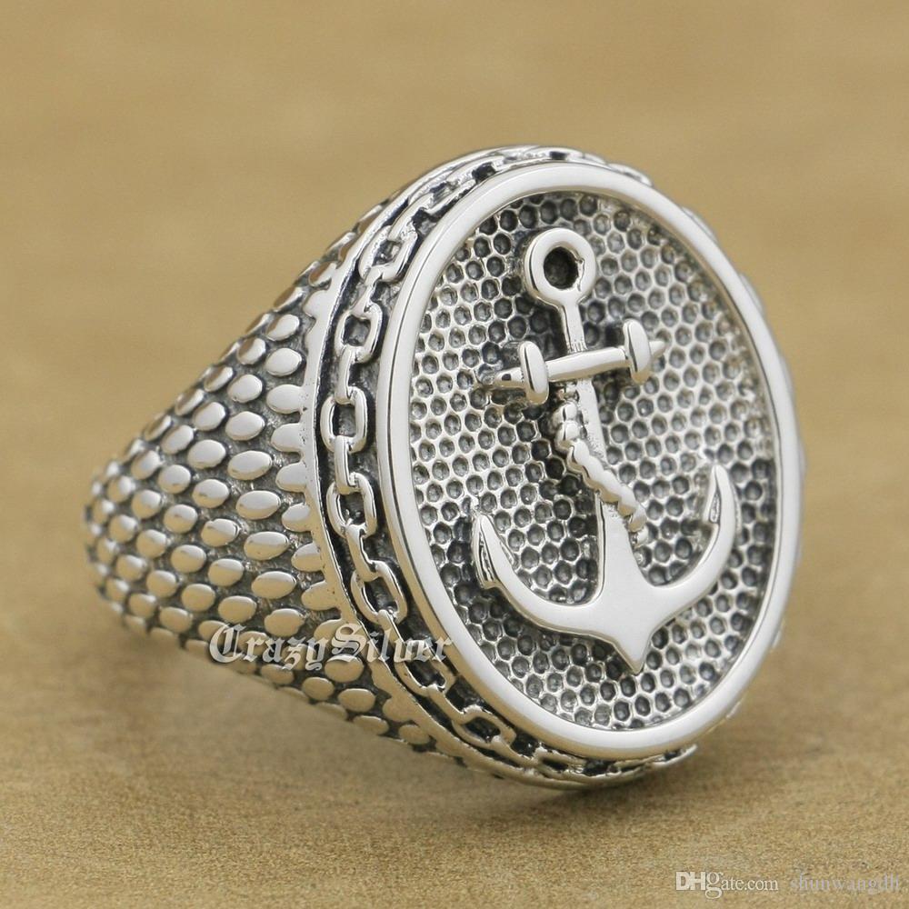 925 Sterling Silver Anchor Chain Mens Biker Rocker Punk Ring 9W023 US Size 7 ~ 15