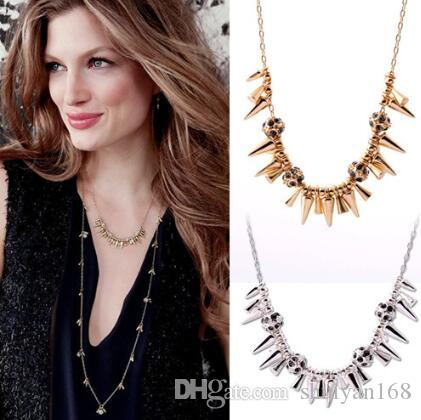 Punk Statement Cluster Necklace Alloy Arrowhead Girocollo Collana Strass Pave Ball Charms Lady placcato oro o argento