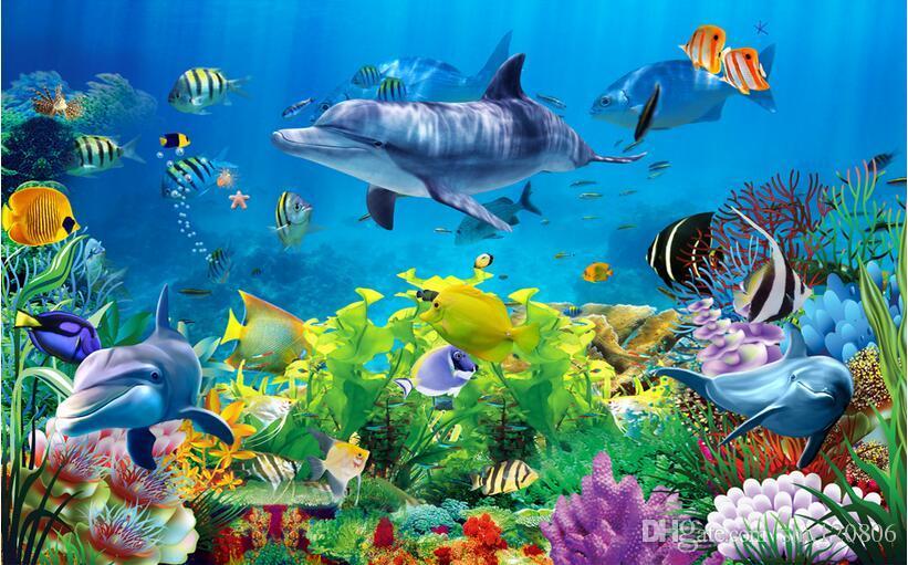 3d papier peint personnalisé photo non-tissé mural sticker mural corail mer monde poissons peinture image 3d mur salle peintures murales papier peint