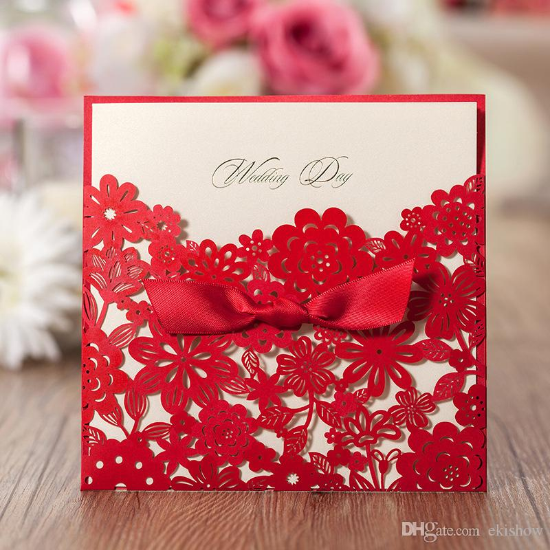 Personalized Printable 2017 Wedding Invitations Cards Red Laser ...