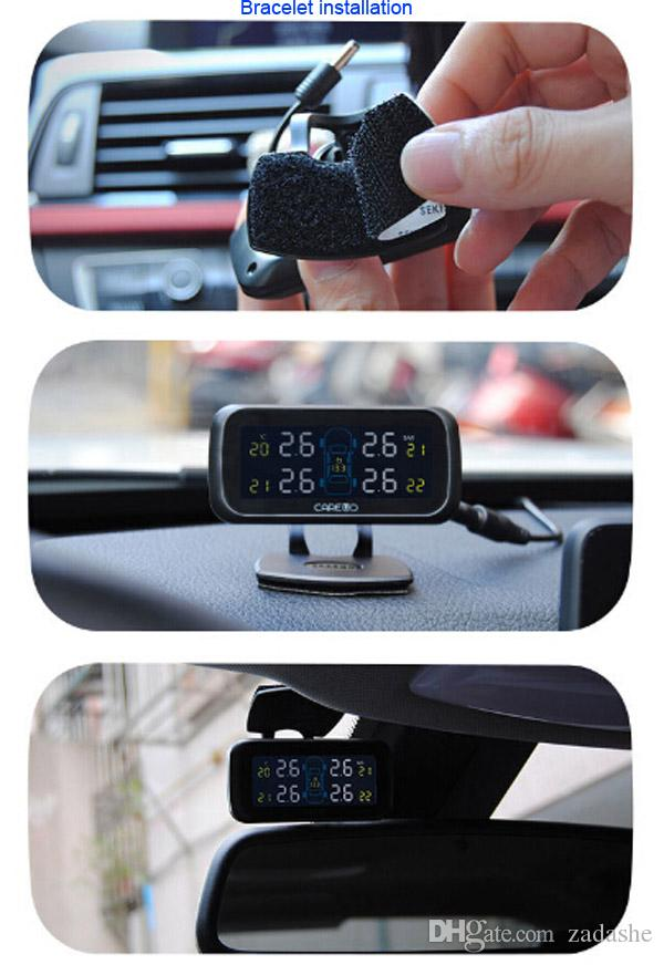 담배 라이터 타입으로 시스템을 모니터링 전문 자동차 TPMS LCD 자동 무선 4 외부 센서 타이어 압력
