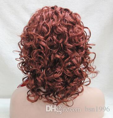 beautiful fashion Copper Red 3/4 wig with headband short curly synthetic women's half wig