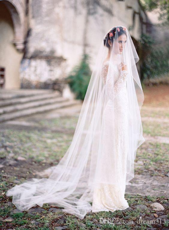 Best Selling Elegant Luxury Real Picture High Quality Romantic Amazing Chapel Cut Edge Veil Bridal Head Alloy Comb For Wedding Dresses