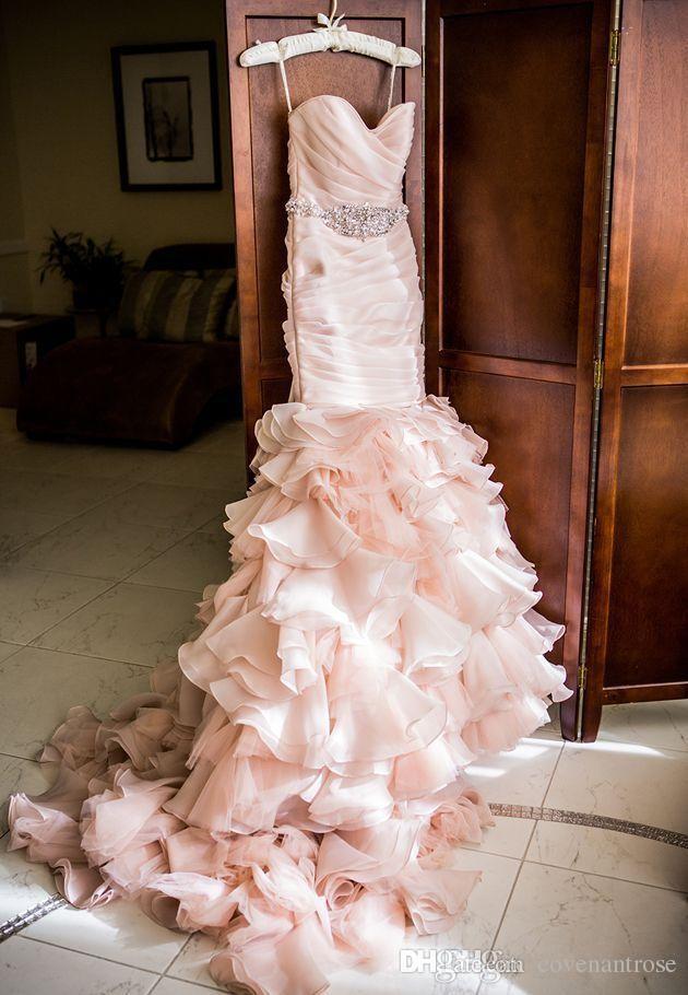 Vintage Blush Pink Brautkleider Meerjungfrau Schatz Perlen Kristall Backless Lace-Up Backless Brautkleider Plus Size Günstige Gericht Zug