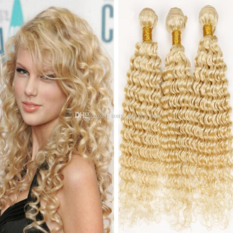 8a Cheap Human Hair Extensions Bleached Blonde Color 613 Brazilian