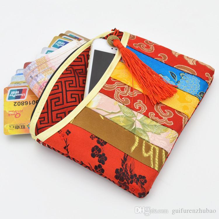 Sacchetto di immagazzinaggio dei monili della borsa della moneta della chiusura lampo di modo della rappezzatura Sacchetto d'imballaggio del regalo della nappa del mestiere Sacchetto cinese d'imballaggio del broccato di seta piccolo Borse cosmetiche di trucco