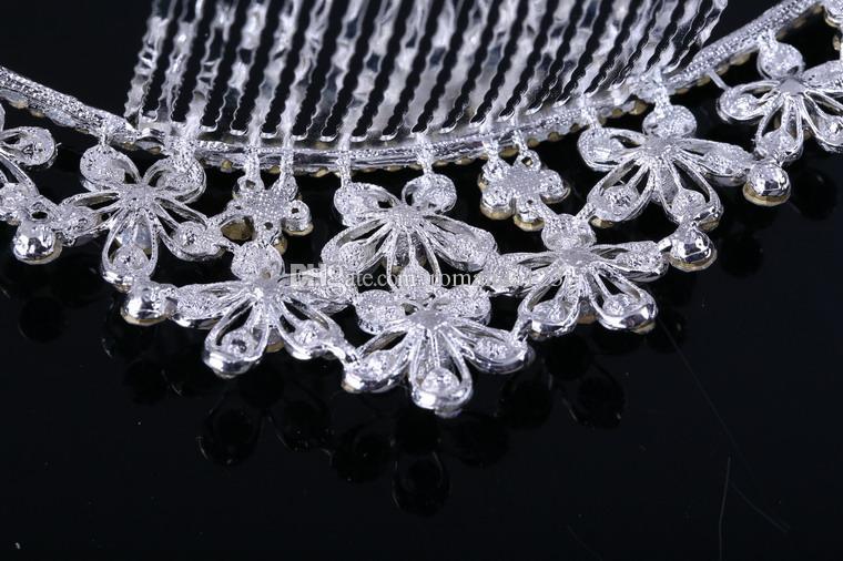 DHL 무료 배송 패션 신부 크라운 크리스탈 빛나는 다이아몬드 티아라 웨딩 헤어 쥬얼리 합금 빗 헤어 액세서리