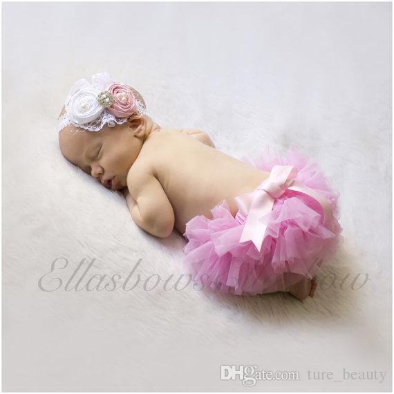 Mädchen kurze Hosen Baumwolle Schichten Chiffon gekräuselten Neugeborenen Bloomer Bebe PP Shorts Baby Shorts Kinder Windel deckt 10er 5 Stück pp + Hairband